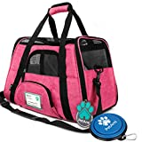 PetAmi Premium Airline Approved Soft-Sided Pet Travel Carrier | Ventilated, Comfortable Design with Safety Features | Ideal for Small to Medium Sized Cats, Dogs, and Pets (Small, Heather Pink)