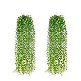 PNNP 2 Stück Kunstpflanze Hängend, 95cm Kunstpflanzen Efeu Weidenblätter Plastikpflanzen, Hängepflanze Künstlich Für Draussen Balkon Wanddekoration Hochzeit Garten Hängend Vine Pflanze Deko, MEHRWEG