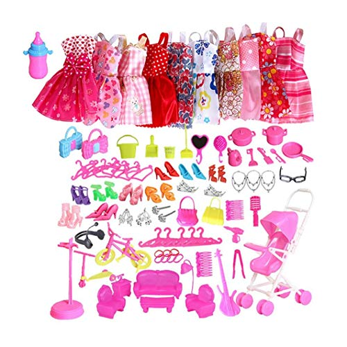 Ropa de moda 10pcs Set de accesorios casuales ropa de noche sistema del vestido de muñecas con los zapatos de bonificación joyería pendientes del collar Trajes Grande