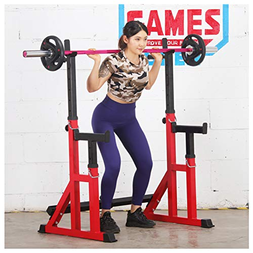 NENGGE Squat Rack Multi-Function Barbell Rack Height and Width Adjustable Dip Stand Home Gym Heavy Duty Weight Lifting Bench Press Dip Station Push up Portable Strength Training Squat Stand