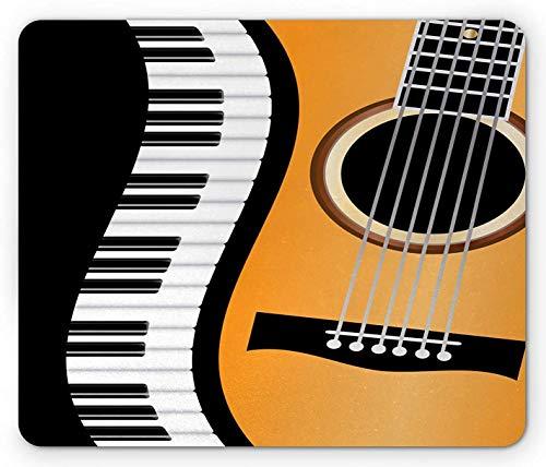 Music Mouse Pad, Conceptual Piano Keyboard Wave und eine Akustikgitarrenkomposition, Rectangle Non-Slip Rubber Mousepad, Standardgröße, Charcoal Grey Orange und White