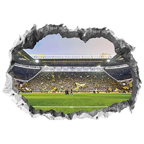Borussia Dortmund Wandtattoo 3D für Tapete mit Glow-Effekt im Dunkeln | Sport Fanartikel mit Signal Iduna Arena Motiv 3D | Stadion Motivfolie problemlos anzubringen | Fussball Wandbild [70 x 100 cm]