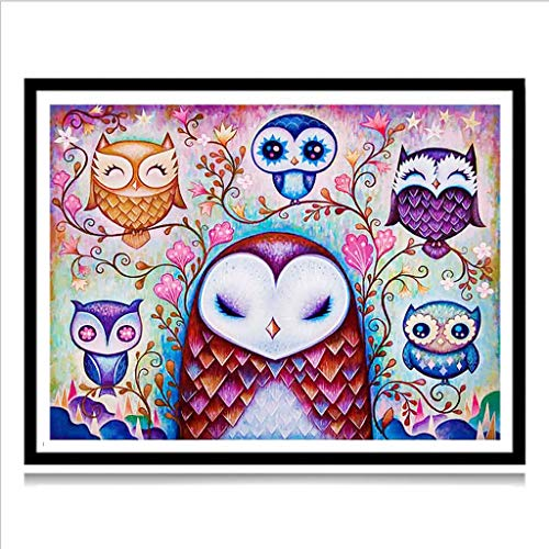 5D Diamond Painting Full Drill Cute Animal Painting Cross Stitch Full Drill Crystal Rhinestone Embroidery Pictures Arts Craft for Home Wall Decor Gift 4030cm (owl)