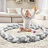 Mamibaby Baby Crib Bumper Knotted Braided Bumper Handmade Soft Baby Gift Crib Protector (Gray-White, 9.8Feet)