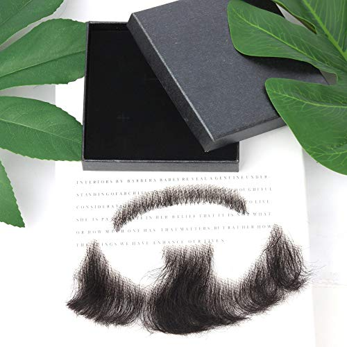 JINSUO NWXZU Lace Beard Hand Made by Real Hair Fake Beard for Man Mustache Fancy Synthetic Lace Invisible Mustachio (Color : 1)