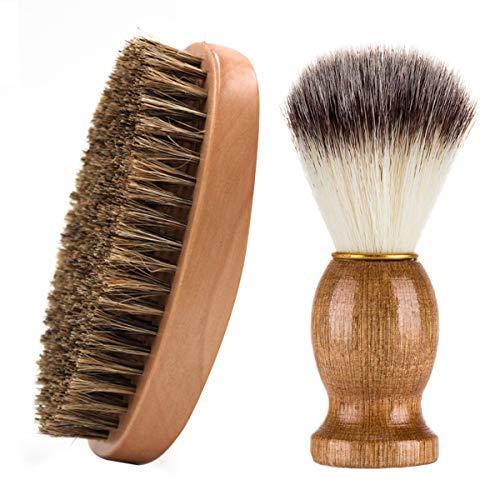 TheStriven 2 piezas Cepillo de Barba Hecha de Madera Fina Brocha de Afeitar Con Mango Brocha Afeitar Punta Regalo de Herramienta de Limpieza de Barba para Hombres para el Cuidado Perfecto de la Barba