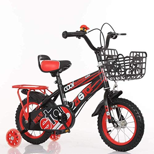 HCMNME Durable Bicycle Kids Bike for 2-9 Years Old, Children's Mountain Bicycles with Training Wheels and Back Seat, Carbon Steel Sporty Bicycle with Basket, for Boys Girls,Red,16inch Alloy fram