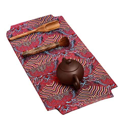 Wukong Paradise Yunjin Linen Table Runner Broderie Tapis De Thé Plateau Pad Accessoires De Thé-A03
