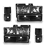 AUTOSAVER88 Headlight Assembly Kit Compatible with Chevy C/K Series 1500 2500 3500/ Chevy Tahoe/Chevy Suburban/Chevrolet Silverado 1994 1995 1996 1997 1998 1999 2000 Black Housing