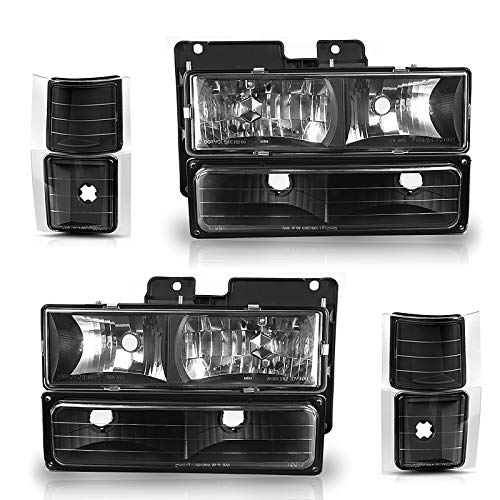 AUTOSAVER88 Headlight Assembly Kit Compatible with Chevy C/K Series 1500 2500 3500 / Chevy Tahoe/Chevy Suburban/Chevrolet Silverado 1994 1995 1996 1997 1998 1999 2000 Black Housing