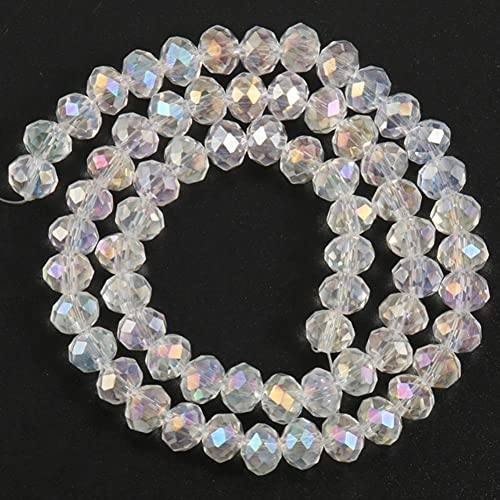 3 4 6 8mm Facettierte tschechische Kristallglas Rondelle Perlen Runde Jades Lose Perlen für Schmuckherstellung DIY Armband Zubehör 15 '' (Color : AB Color Crystal, Size : 6mm (Approx 92pcs))