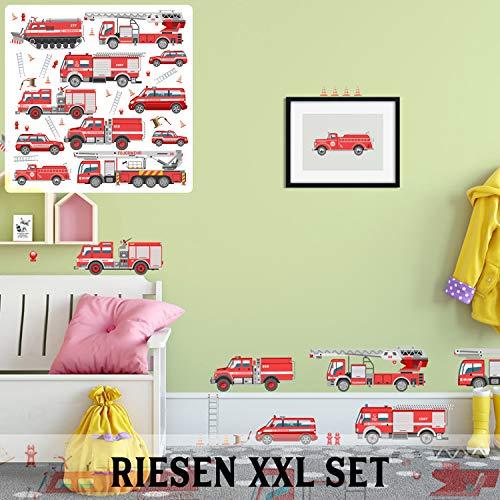 XXL Wandtattoo Set verschiedene Motive| Kinderzimmer Aufkleber bunt Wanddeko (Feuerwehr)