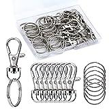 50PCS Premium Swivel Snap Hooks with Key Rings, Metal Swivel Hooks W/Portable Plastic Box, 25PCS...