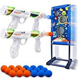 BROADREAM Shooting Game Toys for Kids Boys Rechargeable Moving Shooting Target Toys with 2pk Air Toy Guns, Christmas Stocking Stuffers Birthday Gifts for Kids Toddlers Age 5 6 7 8 10 13 Years Olds