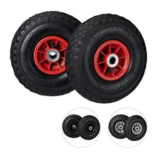 Relaxdays Set de Dos Ruedas de Carretilla, Neumáticos de 3.00-4, hasta 80kg, Llanta de plástico, 260x85 mm, Negro y Rojo