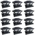 iGlow 12 Pack Black/White Outdoor Garden 6 x 6 Solar SMD LED Post Deck Cap Square Fence Light Landscape PVC Vinyl Wood