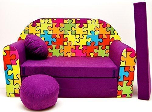 Pro Cosmo- Sofá Cama para niñosG34con puf, reposapiés y Almohada, Tela Multicolor, 168x 98x 60cm