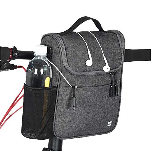Selighting Fahrrad Lenkertasche wasserdichte Fahrradtasche für Lenker mit Regen Abdeckung (Dunkelgrau)