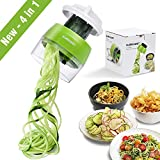 Handheld Spiralizer Vegetable Slicer, 4 in 1 Heavy Duty Veggie Spiral Cutter - Zoodle Pasta...