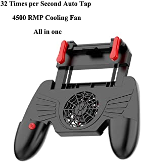 Uberwith 32 Shots per Second PUBG Trigger Mobile Controller, Gaming Grip with Portable Charger Cooling Fan,for PUBG/Fortnite/Rules of Survival L1R1 Mobile Game Trigger Joystick for Android iOS Phone