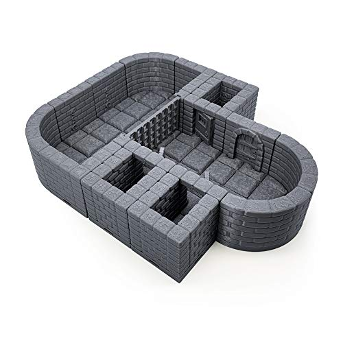 Locking Dungeon Tiles - Jail and Holding Cells, Paintable 3D Printed Tabletop Role Playing Game Terrain Scenery for 28mm Miniatures