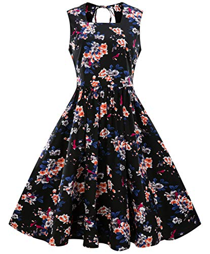 COCDress Dames Vintage 1950 Klassieke Rockabilly Retro Bloemen Patroon Print Cocktail Avond Swing Party Jurk