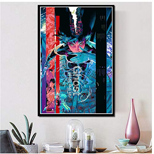 Hot Ghost In The Shell Fight Police Japan Anime Poster and PrintsArt Paintings Canvas Wall Pictures For Living Room Home Decor -50x70cm Sin Marco