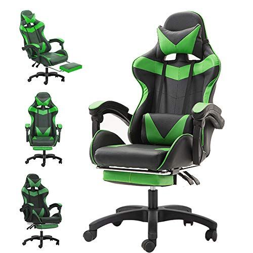 sudatong Gaming Chair Ergonomic Swivel Office Chair High Back Heavy Duty Home Office Computer Desk Chair PU Leather Recliner Sport Racing Chair [Energy Class A+] -Black&Green