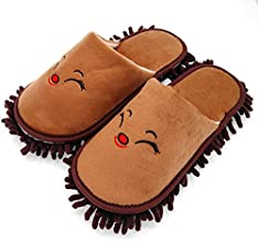Selric Fox Super Chenille Microfiber Washable Mop Slippers Shoes Coffee, Floor Dust Dirt Hair Cleaner, Multi-Sizes Multi-Colors Available 9 7/9 Inches Size:5.5-8.5.