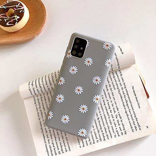 ZTOFERA Hülle für Samsung A51, Gänseblümchen Blume Design Schlank Hülle, Weich Flexibel Anti-Kratzer Bumper Schutzhülle für Samsung Galaxy A51 - Grau
