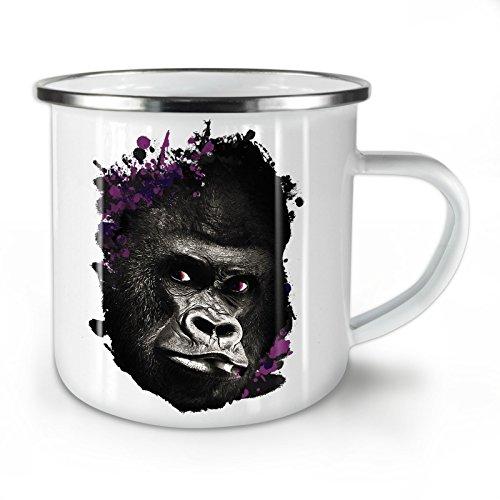 Wellcoda Rauchen Gorilla Gesicht Emaille-Becher, Wild - 10 Unzen-Tasse - Kräftiger, griffiger Griff, Zweiseitiger Druck, Ideal für Camping und Outdoor