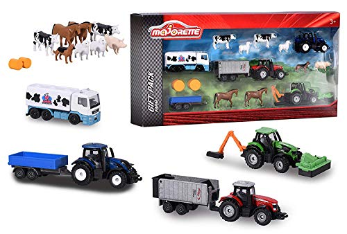 Majorette 212057452 - Big Farm Set, 18-teiliges Set für den Bauernhof mit Traktoren, Tieren und verschiedenem...