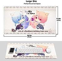 IIpad Re:ゼロから始める異世界生活 ゲーミングマウスパッド 大型マウスパッドアニメマウスパッドデスクマウスパッド 滑り止め 防水75X40X0.3cm