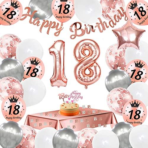 18. Geburtstag Dekoration,18 Geburtstag Deko Roségold, Konfetti Luftballons Number Folienballon 18 Luftballons,Happy Birthday Banner,Geburtstagsdeko 18 Jahre für Mädchen