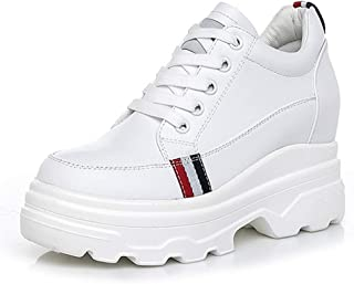 Women's Fashion Sneakers Low-Top Casual Shoes Leather Athletic Shoes Invisible Increase Wedges Lace-Up Leisure Sports Shoes Black White,White,36