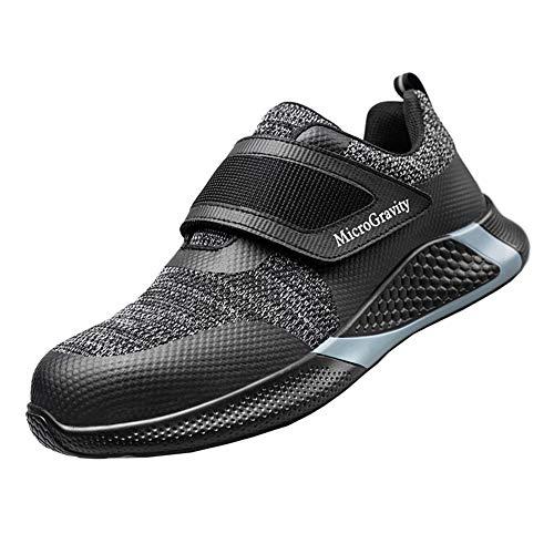 Zapatos de Seguridad Hombre S3 Ligeros Transpirables Zapatos de Trabajo con Punta de Acero Antideslizante Negro A 44