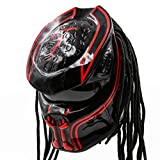 Predator Motorcycle Helmet – DOT Approved – Custom Made, Fibreglass, Unisex for Powersports, Sports, and Outdoor - Red Oblivion