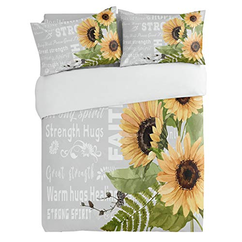 OneHoney Full Duvet Cover Sets Watercolor Sunflower with Inspirational Quotes, Ultra Soft Microfiber Comforter Covers Lightweight 3 Pieces Bedding Set Bedspread with Pillow Shams Grey