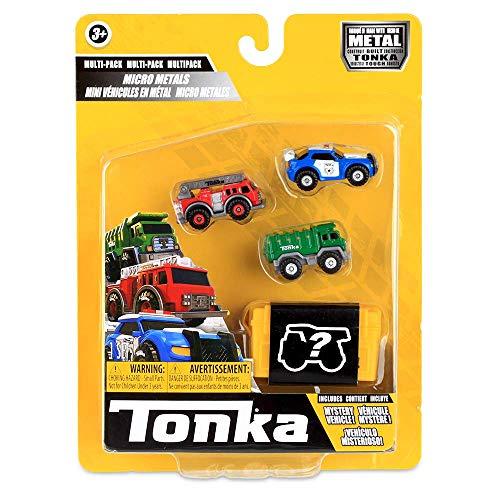 Tonka 6057 Crucero de policía de Micro Metales, camión de Bomberos y helicóptero de Rescate, Coches de niños, Juguetes para Juegos creativos, vehículos de Emergencia para niños de 3 años más