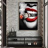 Mujeres fumando lienzo pintura Sexy labios rojos frescos retratos carteles e impresiones Cuadros cuadro de arte de pared para la decoración del hogar de la sala de estar 40x60 CM (sin marco)