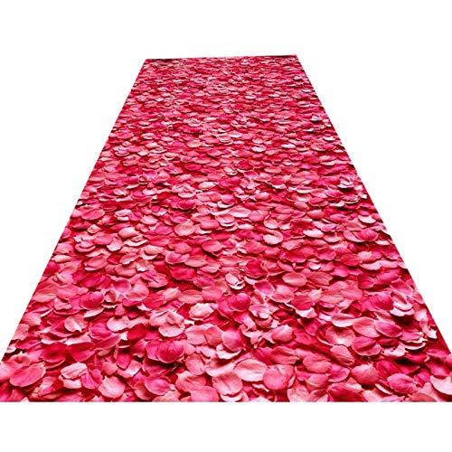 DHTOMC Alfombra premium 3D pétalos de rosa para pasillo de entrada, alfombra...