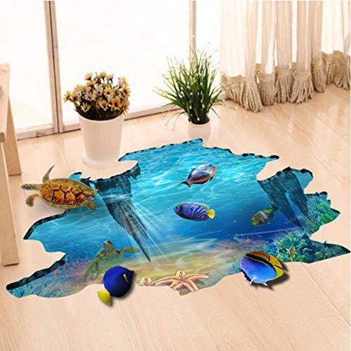 artaslf Pegatinas de suelo del mundo submarino 3D Peces de mar Pegatinas de pared 3D Dormitorio Decoración para el hogar Arte mural Calcomanía de pared Papel pintado de vinilo Impermeable-60 * 90 cm