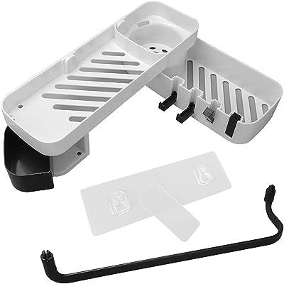 バスルームラック コーナーラック 折り畳み式フック 水切り付き 粘着式 簡単設置 (ホワイト×ブラック)