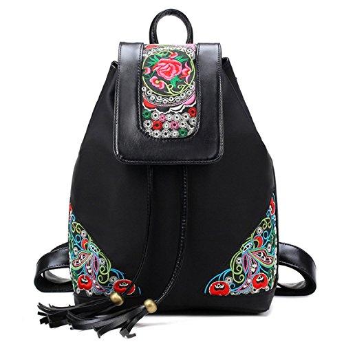 abaría - Mochilas tipo casual con bordados flores bolso mujer universidas mochilas escolar chica de Impermeable, negro mediana