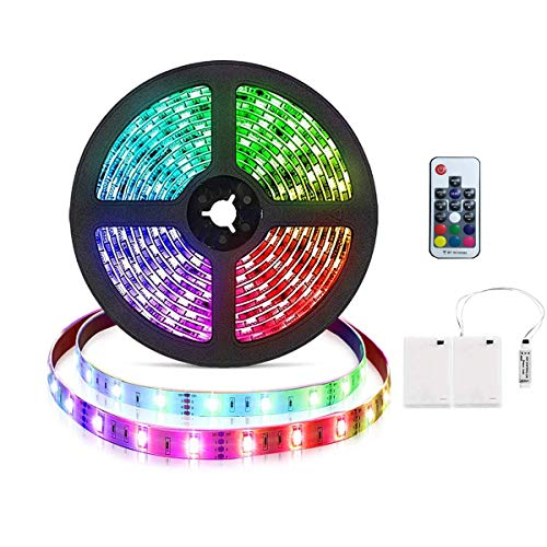 Tira de luces LED RGB de 3m con pilas Tira de luces LED RGB flexible Luces de cuerda a prueba de agua con caja de alimentación de batería y control remoto RF de 17 teclas