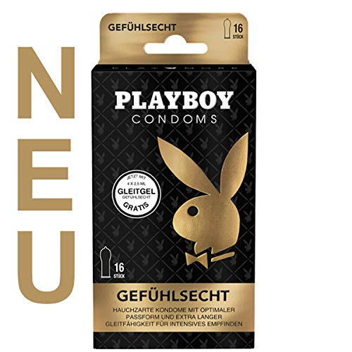 Playboy Condoms Kondome Gefühlsecht, Verhütungsmittel, Intensiv, mit Gleitgel gratis, 56 mm, 16 Stück, 2-PB-CGE16-01