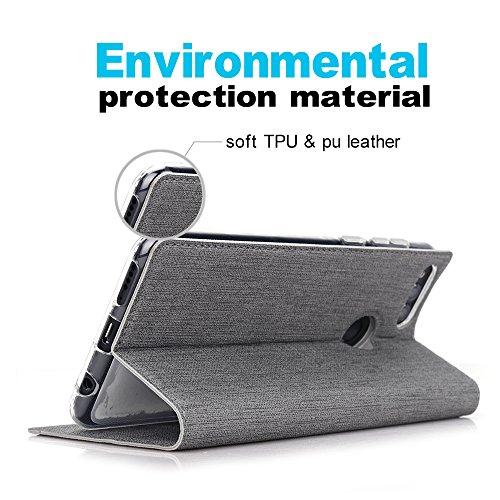 Feitenn Honor 7X Hülle, dünne Premium PU Leder Flip Handy Schutzhülle | TPU-Stoßstange, Magnetverschluss, Kartenschlitz, Kameraschutz- und Standfunktion Brieftasche Etui (Grau) - 6