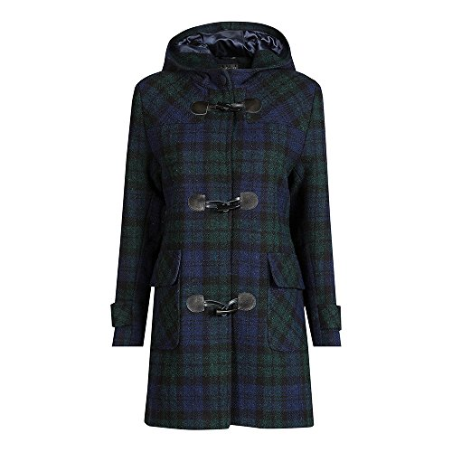 The Scotland Kilt Company Neu Luxuriös, Wolle Damen Harris Tweed Düffelmantel - Schwarze Uhr -...