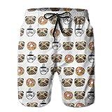 Perros Divertidos Pug Puppie Donut Patrón de café Bañador para Hombre Trajes de baño de Secado rápido Vacaciones de Verano Pantalones Cortos de Playa con Bolsillos M