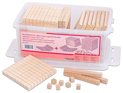 Betzold 86891 - Dienes-Material Mathe-Set Zehnersystem-Satz erweitert - Mathematik Rechnen Zahlen Lernen Kinder Dezimalsystem
